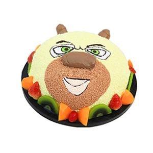 蛋糕/熊二: 圆形水果艺术蛋糕,《熊出没》中熊二造型,水果围