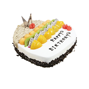 蛋糕/美好祝愿: 心形水果蛋糕,水果艺术装饰,巧克力碎屑围边