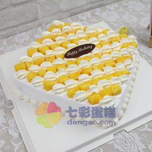 蛋糕/幸福生活: 方形水果蛋糕,新鲜奶油、芒果果肉铺面,水果夹层