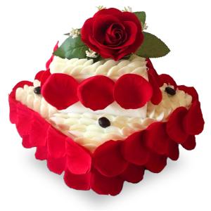 蛋糕/甜蜜的爱: 优质奶油、鸡蛋牛奶蛋糕胚、玫瑰花瓣装饰  [