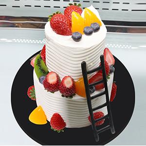 蛋糕/其乐融融:鲜奶原料搭配鲜鲜水果点缀,别致造型 祝 愿:更上一