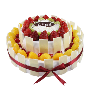 蛋糕/真心相许: 圆形双层水果蛋糕,各色时令水果铺面,纯手工巧克