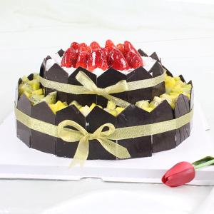 蛋糕/为你祝福: 双层圆形水果蛋糕,时令水果艺术装饰,纯手工巧克