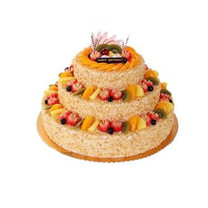 蛋糕/一眼倾城: 三层圆形鲜奶水果蛋糕,各色时令水果艺术装饰,果
