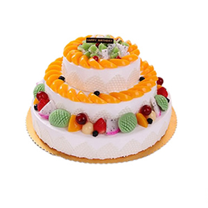 蛋糕/美梦成真: 三层圆形鲜奶水果蛋糕,各色时令水果铺面。