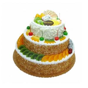 蛋糕/欢乐嘉年华: 三层圆形鲜奶水果蛋糕,水果艺术装饰,果仁碎屑围