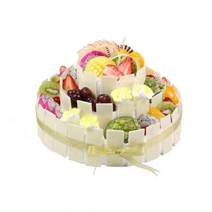 蛋糕/生日欢乐派: 三层圆形鲜奶水果蛋糕、时令水果艺术装饰、纯手工