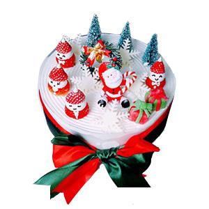 蛋糕/欢乐派对: 新鲜奶油,水果夹层胚,圣诞小饰品装饰  [包