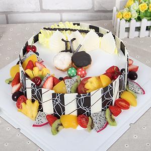蛋糕/双子座专属蛋糕: 新鲜奶油,时令水果和巧克力片装饰  [包 装