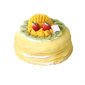 蛋糕/芒果之恋千层蛋糕: 圆形芒果千层蛋糕,芒果果肉、超薄鸡蛋皮、新鲜奶