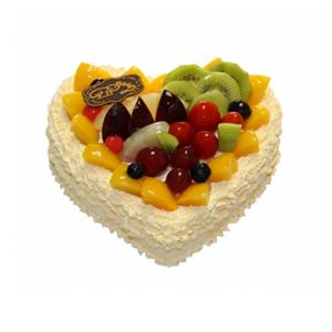 蛋糕/陪伴左右: 心形欧式水果蛋糕,各色水果点缀装饰。  [包