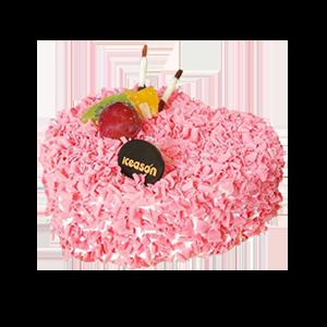 蛋糕/一心一意: 心形欧式鲜奶蛋糕,水果、巧克力片点缀。  [