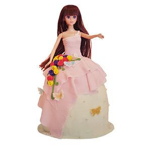 蛋糕/【翻糖蛋糕】纯净往事: 芭比娃娃翻糖蛋糕(需提前预定)  [包 装]