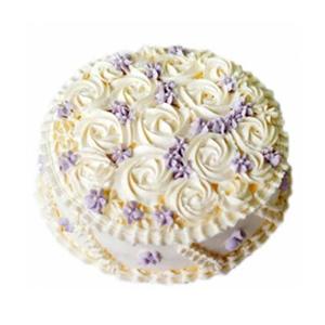 蛋糕/纯爱: 圆形鲜奶艺术蛋糕,玫瑰型花纹装饰  [包 装