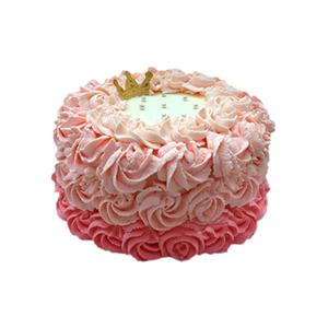 蛋糕/花冠: 圆形三层鲜奶艺术蛋糕,三层渐变玫瑰纹饰  [