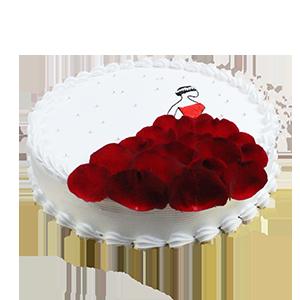 蛋糕/我的女王:圆形鲜奶蛋糕,新鲜玫瑰花瓣艺术装饰。 祝 愿:当我