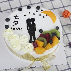 蛋糕/爱在七夕:新鲜奶油搭配新鲜的时令水果 祝 愿:所有的心绪化作