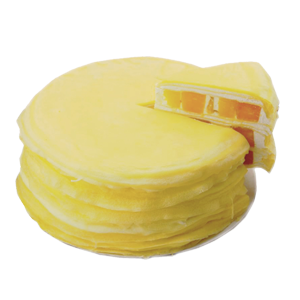 蛋糕/芒果甜心千层蛋糕:圆形芒果千层蛋糕,芒果果肉、超薄鸡蛋皮、新鲜奶油层层