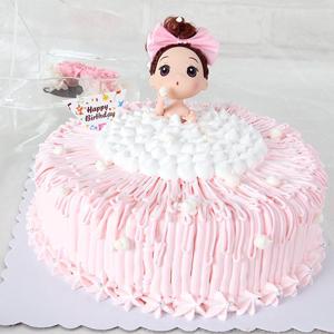 蛋糕/梦幻芭比:原材料:进口淡乳脂,鲜奶,芭比娃娃 蛋糕说:讨好味觉的艺术