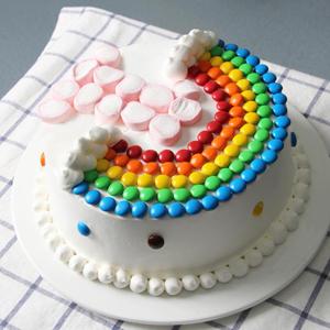 """蛋糕/ 快乐成长:彩虹豆、棉花糖""""1""""岁造型(数字可以更换) 配材:鸡"""