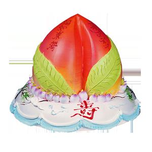 蛋糕/寿元无量:二层鲜奶蛋糕,最上层做成蟠桃,小蟠桃围绕,正前方一个