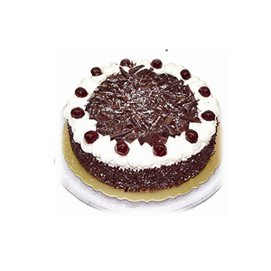蛋糕/雪绒花: 圆形黑森林蛋糕,巧克力屑铺面,白色奶油围边(请