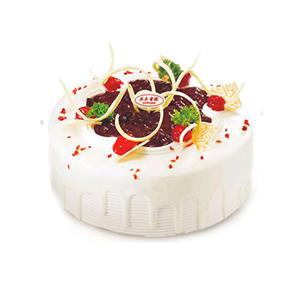 蛋糕/捕获你的心: 圆形冰淇凌蛋糕,中间一层巧克力酱,时令水果、巧