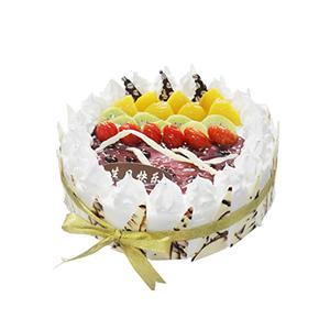 蛋糕/甜心格格: 圆形鲜奶水果蛋糕,时令水果装饰,巧克力片围边装