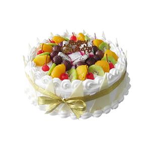 蛋糕/倾心温柔: 圆形鲜奶水果蛋糕,时令水果装饰,巧克力片围边装