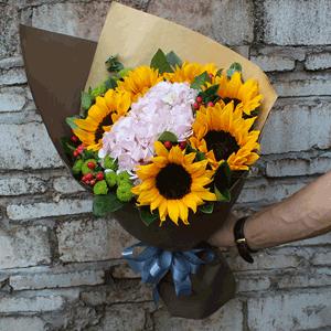 鲜花/向往的光:5枝向日葵+绣球+高级配草 花 语:你是我生命中最