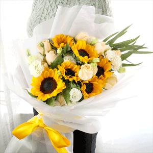 鲜花/清泉:9枝香槟玫瑰 6枝向日葵 花 语:你为明月,我为清