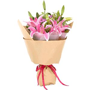 鲜花/遥寄祝福:9朵粉色百合 花 语:春风如梦,风过无痕,只为心的