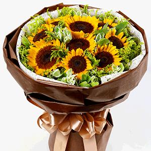 鲜花/严父慈母:9枝向日葵+高级配草 花 语:你陪我长大 我伴你到
