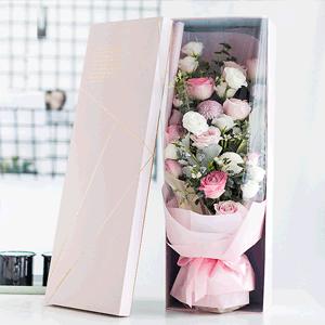 鲜花/遇见你:19枝白玫瑰 粉玫瑰混搭 时令配草 花 语:温柔如