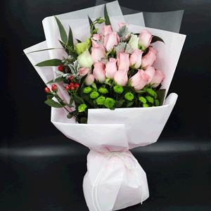 鲜花/铭记:19枝粉玫瑰 高级配草 花 语:铭记于心的爱恋 忠