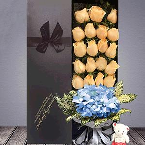 鲜花/亲爱的,我爱你:19枝香槟玫瑰 1枝蓝色绣球 花 语:一直到时间的