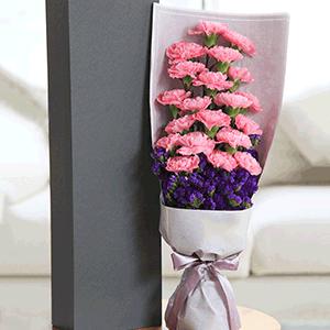 鲜花/青春永驻:19枝粉色康乃馨+高级配草 花 语:收集每一种愿望