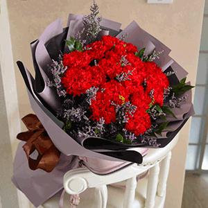 鲜花/深沉母爱:19枝红色康乃馨+高级配草 花 语:母爱是深沉的