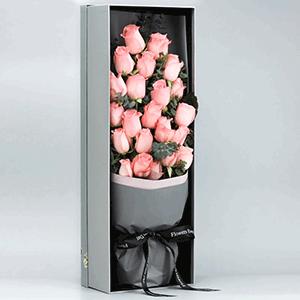 鲜花/爱你,我的宝贝:21枝精品粉玫瑰 花 语:可能我撞了南墙也依然会爱