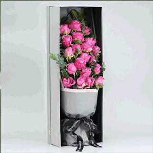 鲜花/绵长的爱:21枝紫玫瑰 花 语:生命虽短 爱却绵长