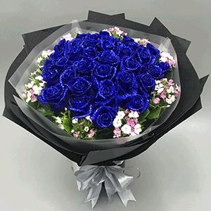 鲜花/小夜曲:21枝蓝色妖姬+高级配草 花 语:那些深藏不露的爱