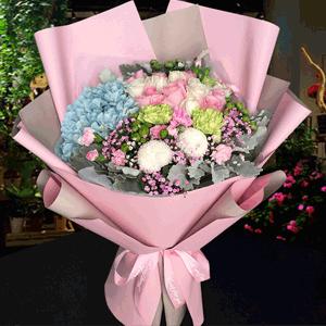 鲜花/粉嫩少女心:29枝混搭玫瑰+乒乓菊+绣球+康乃馨+银叶菊+粉多丁