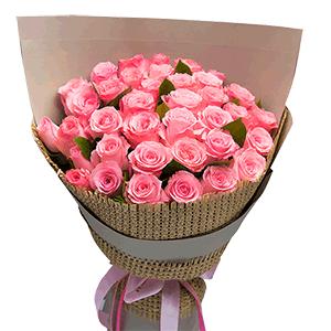 鲜花/Pink punk:29枝粉玫瑰 花 语:山风吹乱了窗纸上的松痕 吹不