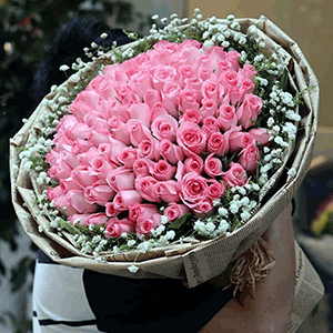 鲜花/情比金坚:66枝粉玫瑰: 花 语:遇见你,是我最美丽意外