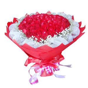 鲜花/穿越时空的爱:99枝红玫瑰 包 装:白色纱网内衬,红色皱纹纸圆形