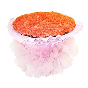 鲜花/久久爱你:999枝艳粉色玫瑰 包 装:粉色卷边纸圆形精美包装